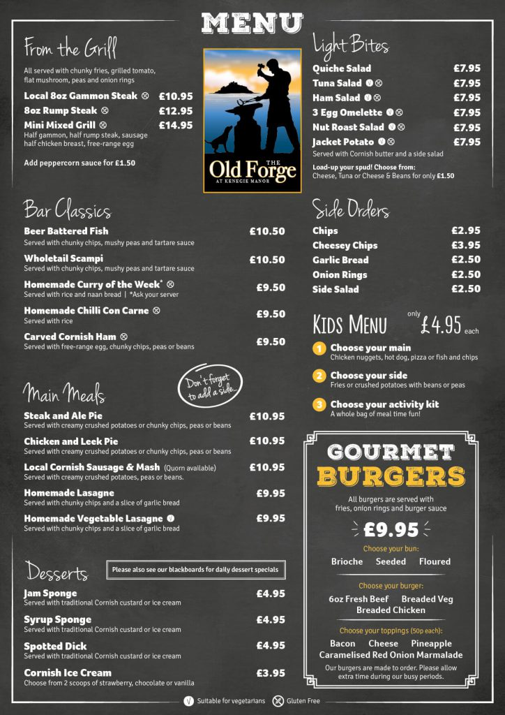 The Old Forge Menu